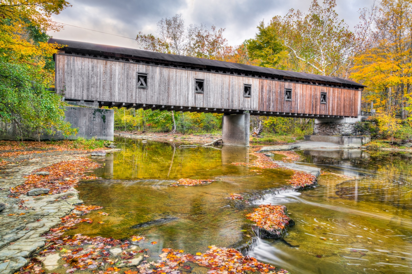 Historic Ohio Bridge, with a flowing river